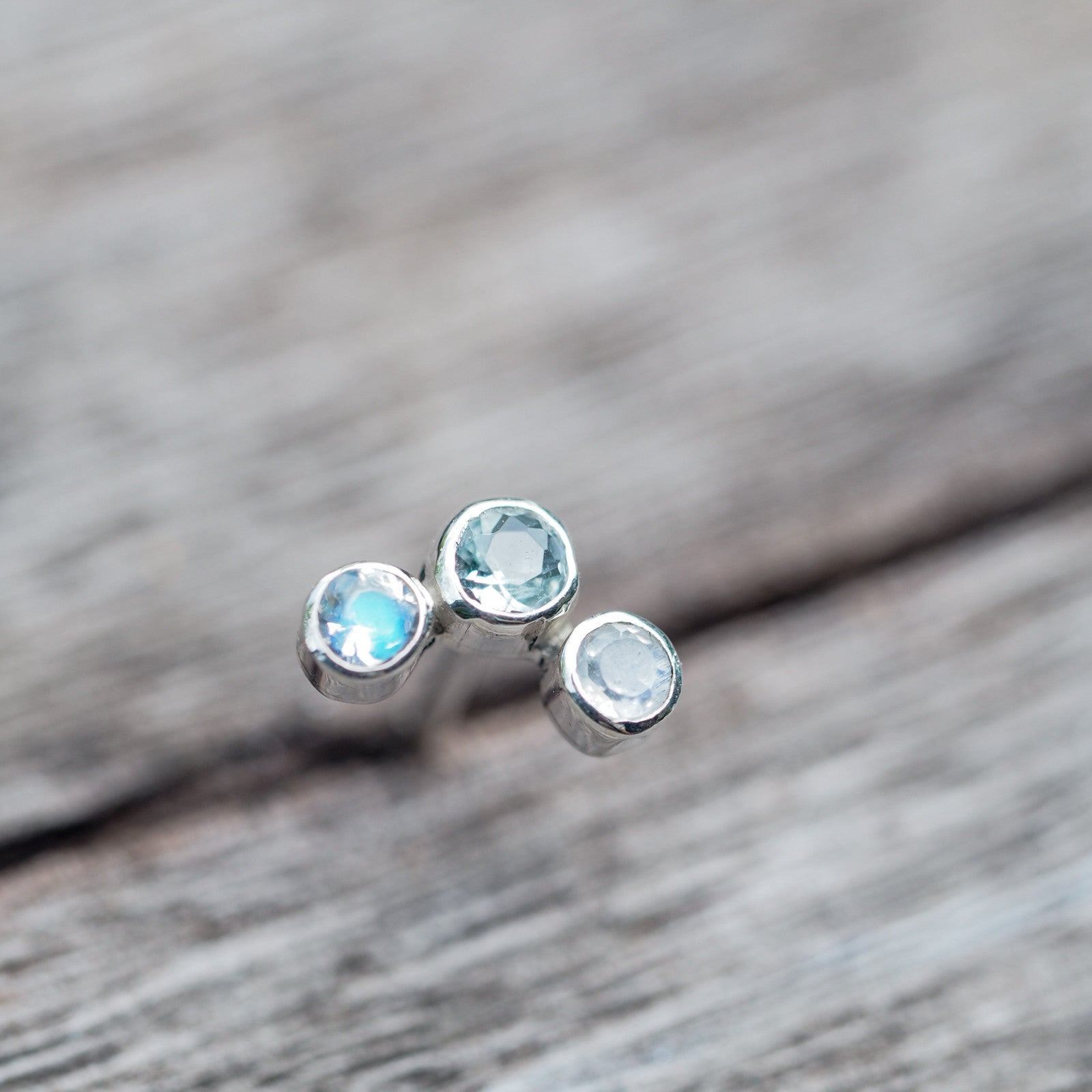 Constellation Trinity // Aquamarine and Moonstone Earrings