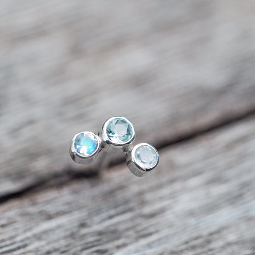 Constellation Trinity // Single Earring with Aquamarine and Moonstone - Gardens of the Sun Jewelry