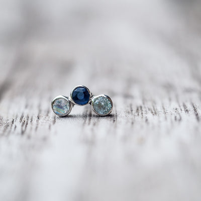 Constellation Trinity // Single Earring with Moonstone and Sapphire - Gardens of the Sun Jewelry