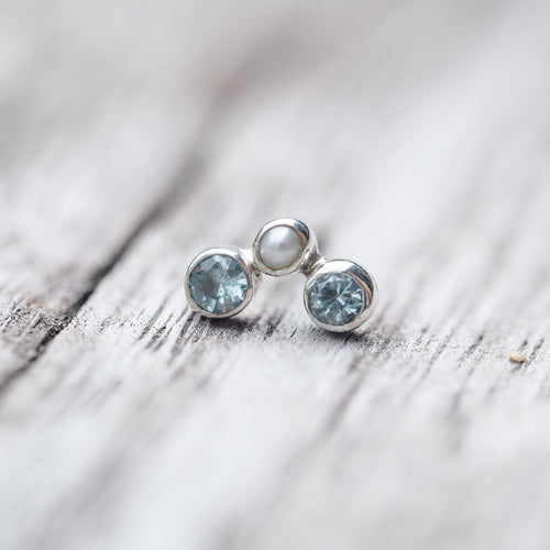 Constellation Trinity // Single Earring with Pearl and Aquamarine - Gardens of the Sun Jewelry