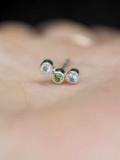 Constellation Trinity // Single Earring with Moonstone and Peridot - Gardens of the Sun Jewelry