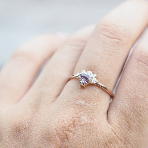 Color Change Sapphire and Diamond Crown Ring in Rose Gold