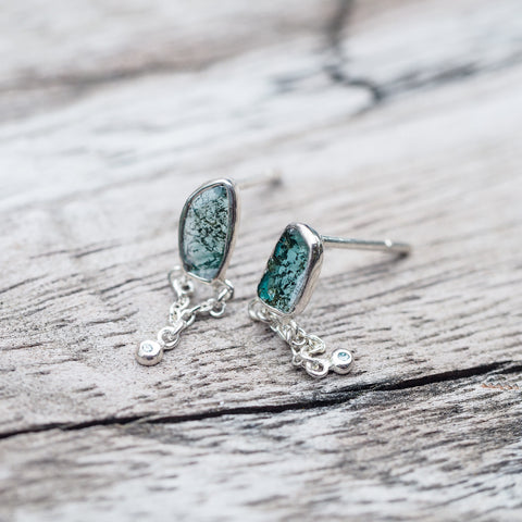Blue Diamond Slice Earrings - Gardens of the Sun Jewelry