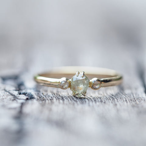 Yellow Pear and Rose Cut Diamond Ring