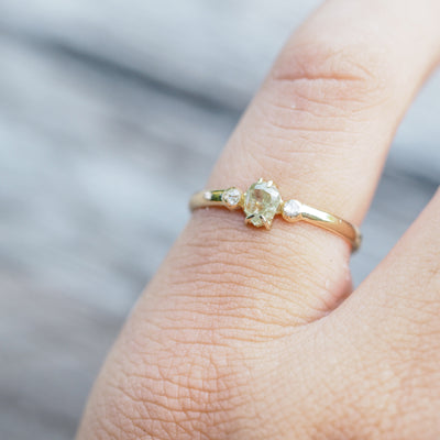 Yellow Pear and Rose Cut Diamond Ring - Gardens of the Sun Jewelry