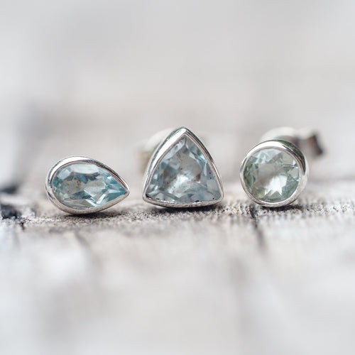 Aquamarine // Single Earring - Gardens of the Sun Jewelry
