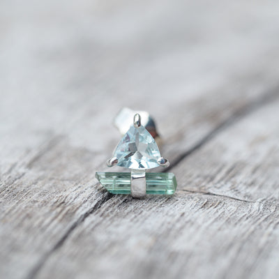 Aquamarine and Tourmaline Crystal Earrings - Gardens of the Sun Jewelry