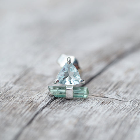 Aquamarine and Tourmaline Crystal // Single Earring - Gardens of the Sun Jewelry