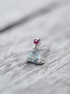 Trillion Aquamarine and Ruby // Single Earring - Gardens of the Sun Jewelry