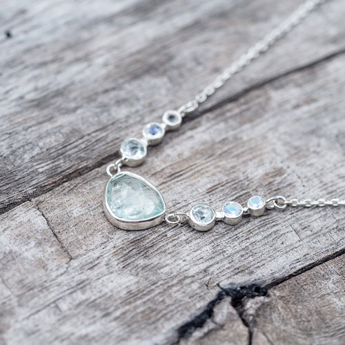 Courage to Change // Aquamarine & Moonstone Necklace - Gardens of the Sun Jewelry