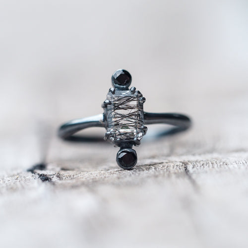 Shield // Rutile Quartz and Black Tourmaline Ring - Gardens of the Sun Jewelry