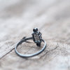 Shield // Quartz and Black Spinel Ring - Gardens of the Sun Jewelry