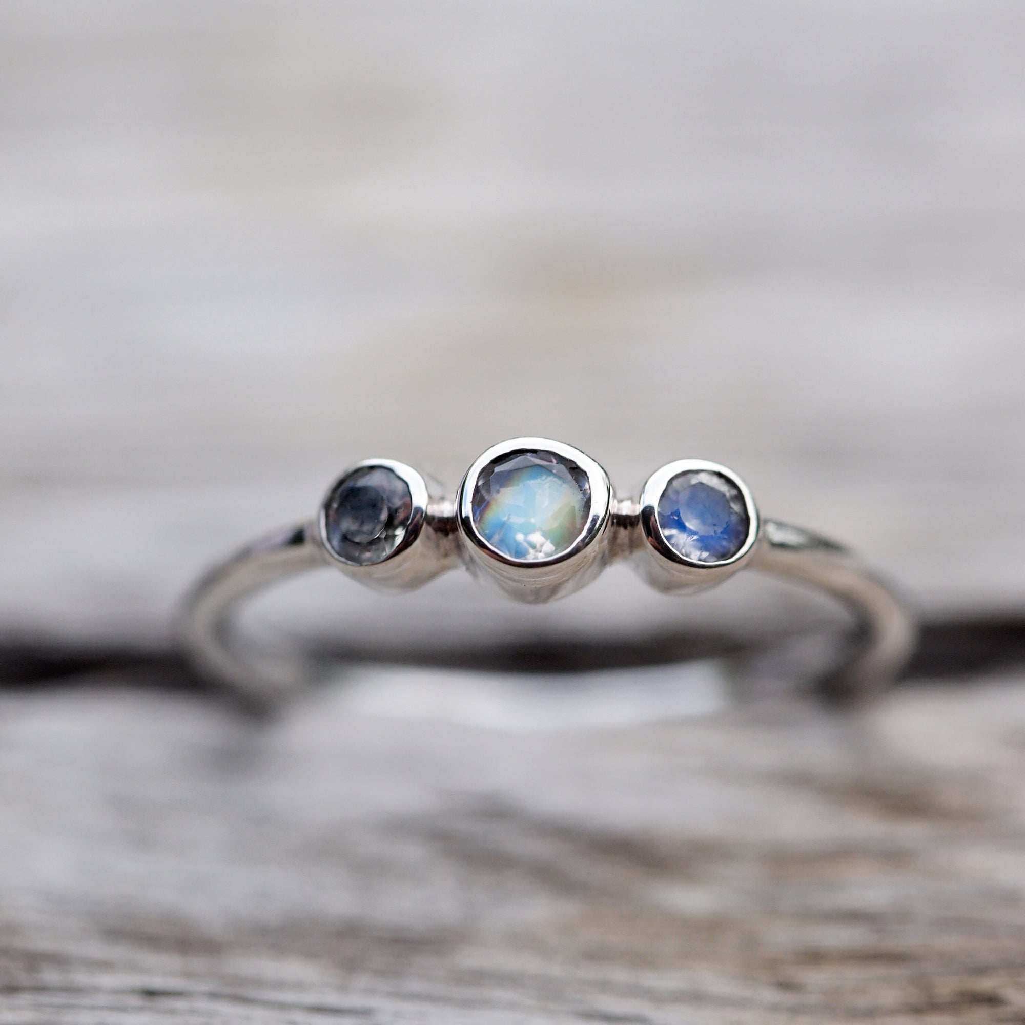 Three Rainbow Moonstone Ring