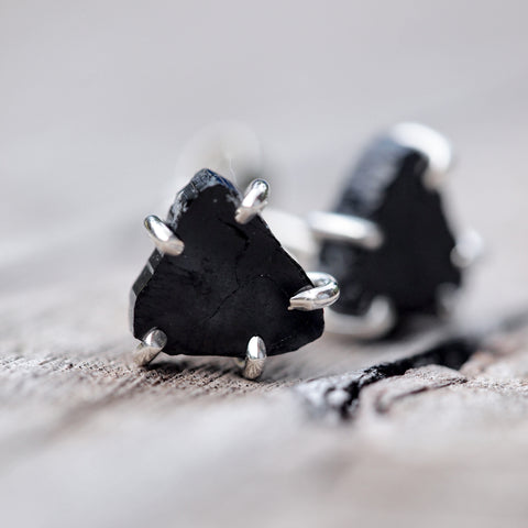 Black Tourmaline Slice Earrings - Gardens of the Sun Jewelry