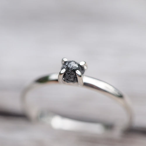 Rebelology // Rough Black Diamond Ring - Gardens of the Sun Jewelry