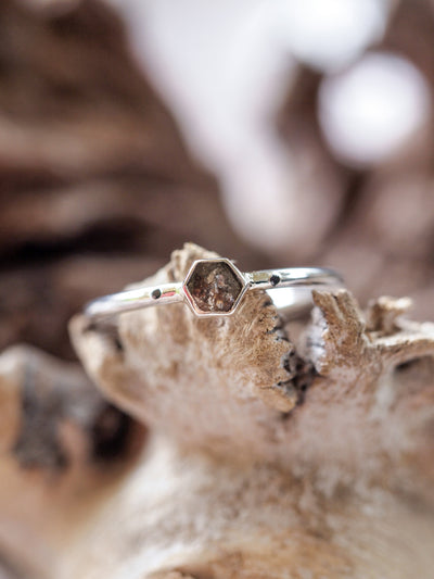 Rustic Hexagon Diamond Ring - Gardens of the Sun Jewelry