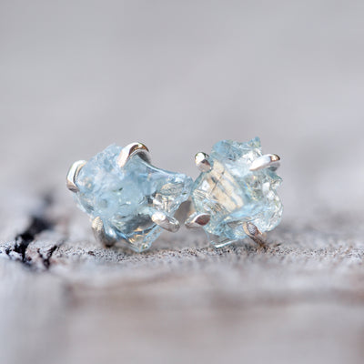 Rough Aquamarine Post Earrings - Gardens of the Sun Jewelry