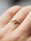 Honey Sapphire and Black Spinel Ring - Gardens of the Sun Jewelry