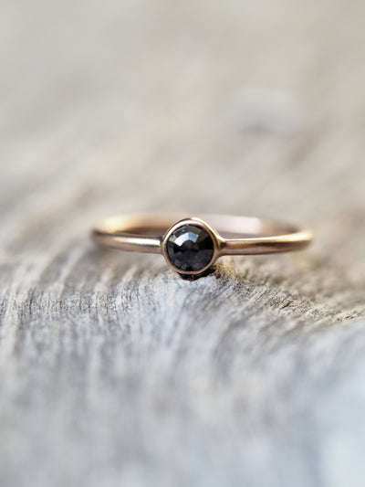 Rose Cut Black Diamond Ring in Rose Gold - Gardens of the Sun Jewelry