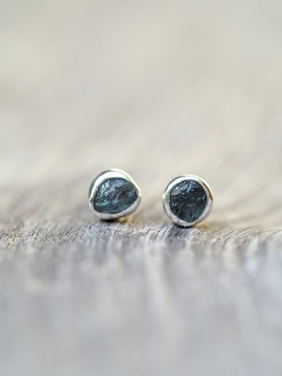 Rough Montana Sapphire Earrings - Gardens of the Sun Jewelry