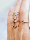 Rose Cut Morganite and Diamond Ring in Rose Gold - Gardens of the Sun Jewelry