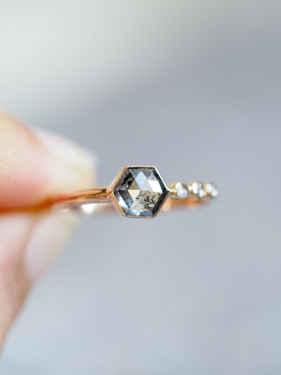 Rose Cut Hexagon Salt and Pepper Diamond Ring in Rose Gold - Gardens of the Sun Jewelry