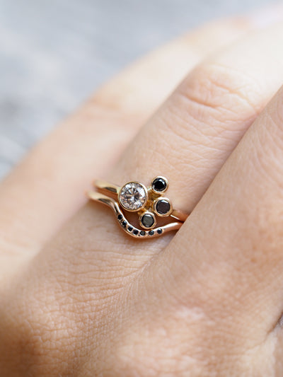 Pink and Black Diamond Ring Set in Rose Gold - Gardens of the Sun Jewelry