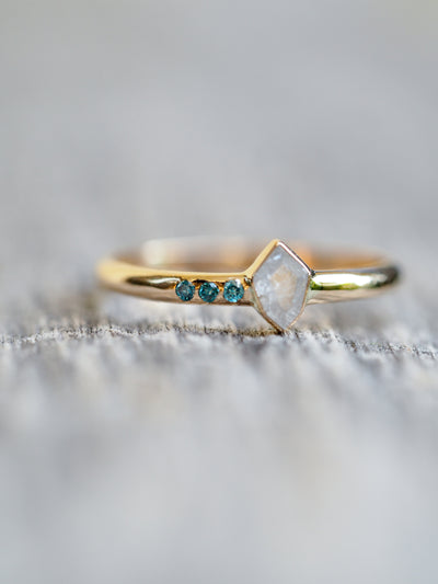 Small Shield Cut White and Blue Diamond Ring in Yellow Gold - Gardens of the Sun Jewelry