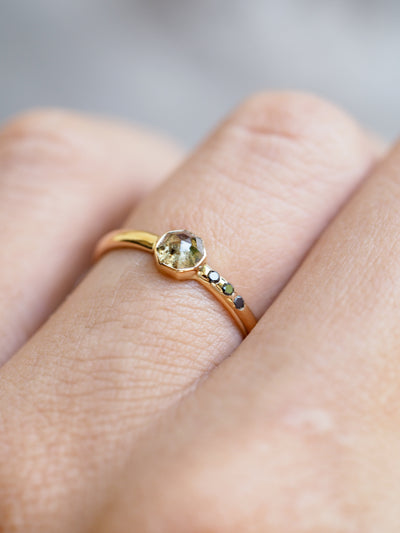 Octagon Green Diamond Ring in Yellow Gold - Gardens of the Sun Jewelry
