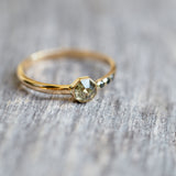 Octagon Green Diamond Ring in Yellow Gold
