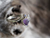 Carved Amethyst Leaf and Moonstone Ring - Gardens of the Sun Jewelry