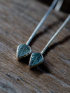 Long Aquamarine Leaf Earrings - Gardens of the Sun Jewelry