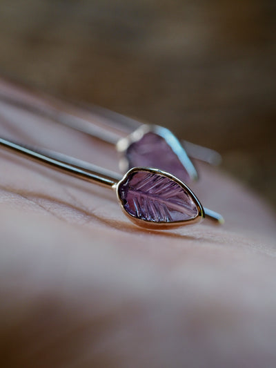 Long Amethyst Leaf Earrings - Gardens of the Sun Jewelry