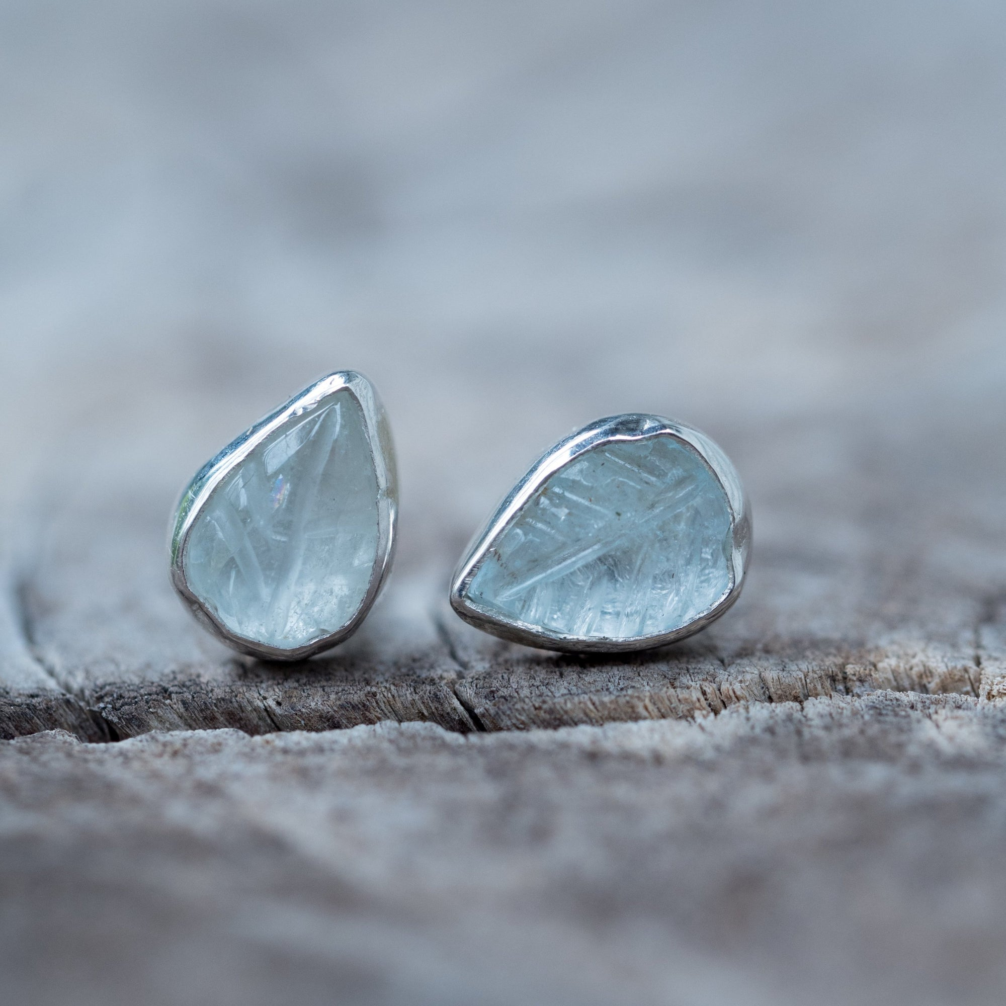 Aquamarine Leaf Earrings - Gardens of the Sun Jewelry