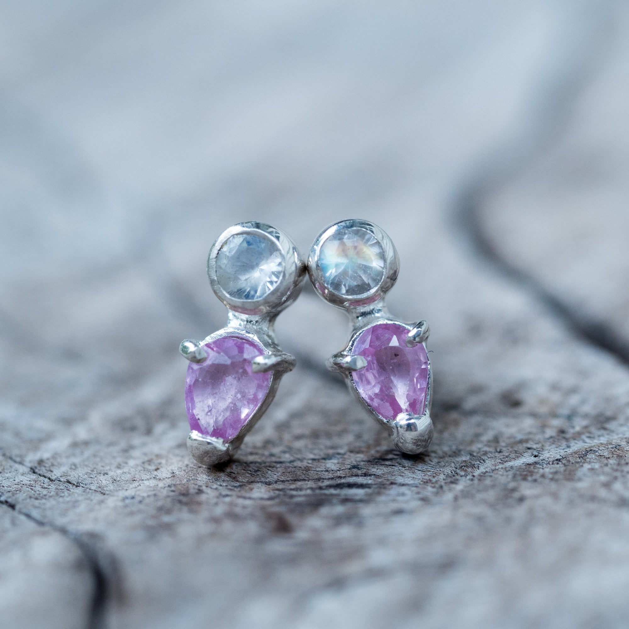 Pink Sapphire and Moonstone Earrings