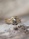 Shield Cut Salt and Pepper Diamond Ring Set in Gold - Gardens of the Sun Jewelry