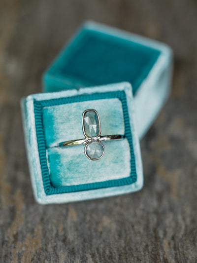 Grey and Lavender Tourmaline Ring in White Gold - Gardens of the Sun Jewelry