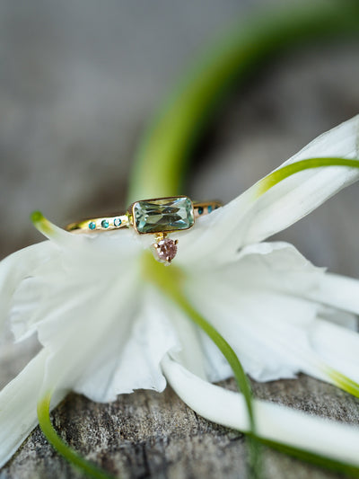 Emerald and Pink Diamond ring in Rose Gold - Gardens of the Sun Jewelry