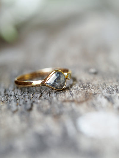 Grey Pear Diamond Ring in Pale Gold - Gardens of the Sun Jewelry