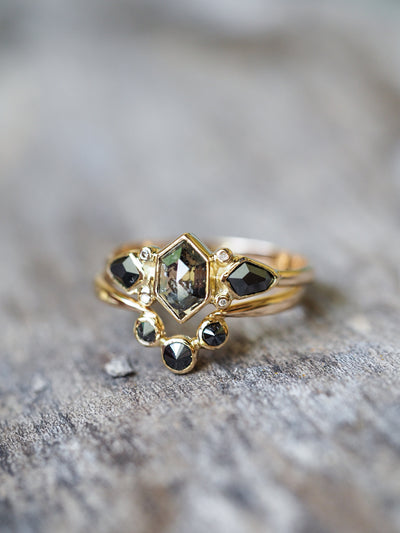 Black Angel Wings Ring Set in Pale Gold - Gardens of the Sun Jewelry