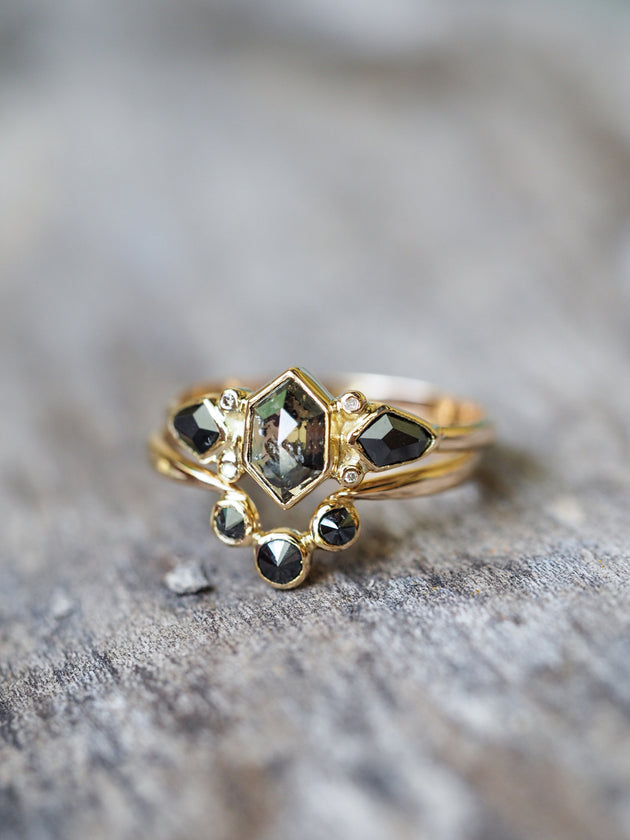 Black Angel Wings Ring Set in Pale Gold