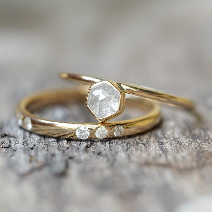 Icy Hexagon Diamond Ring Set - Gardens of the Sun Jewelry