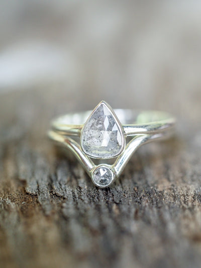 Salt and Pepper Diamond Ring Stack - Gardens of the Sun Jewelry