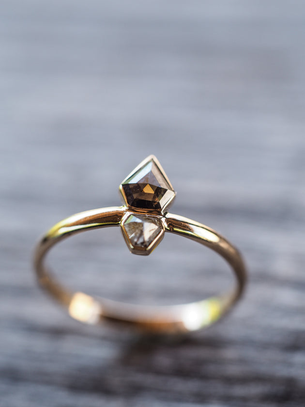 Double Diamond Shield Ring in Yellow Gold