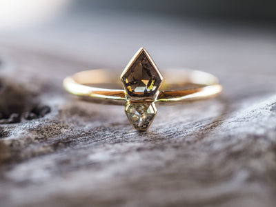 Double Diamond Shield Ring in Yellow Gold - Gardens of the Sun Jewelry