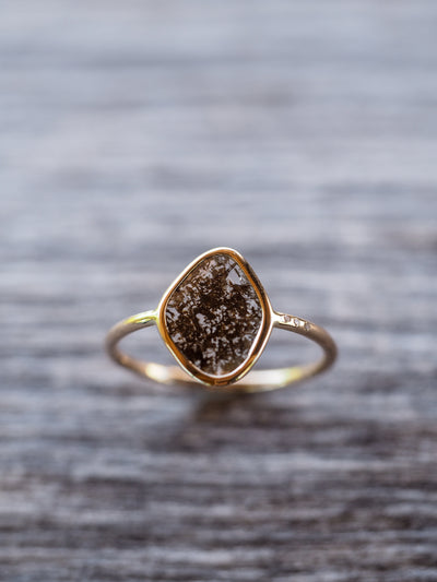 Earth Gold Diamond Slice Ring - Gardens of the Sun Jewelry