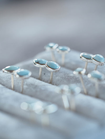 Rose Cut Larimar Earrings