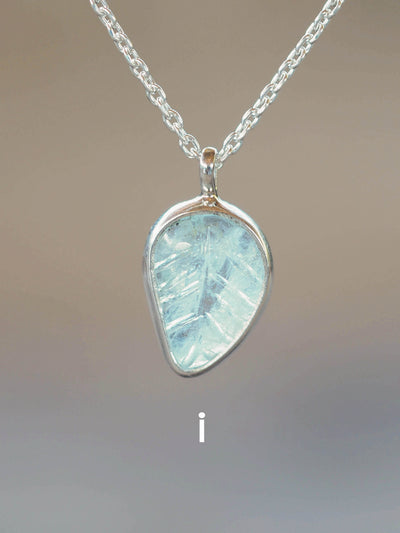 Aquamarine Leaf Necklace