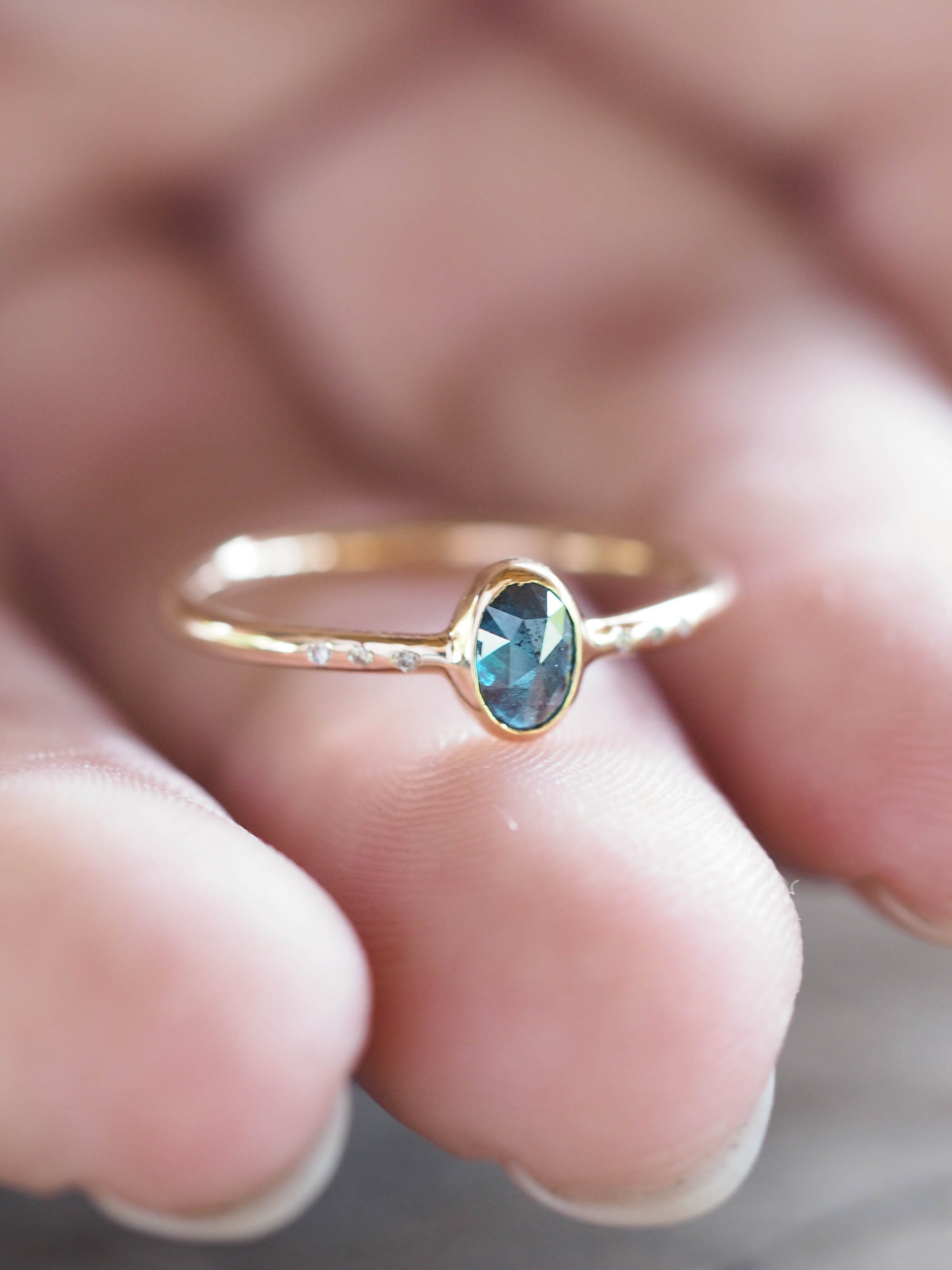 Blue Rose Cut Diamond Ring | Build Your Own - Gardens of the Sun