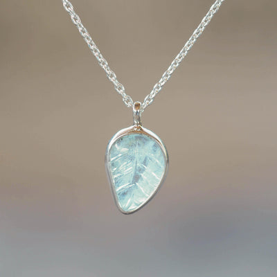Aquamarine Leaf Necklace - Gardens of the Sun Jewelry